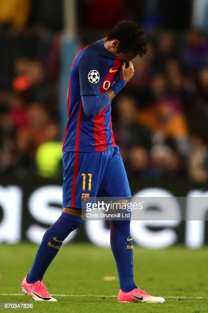 Neymar of FC Barcelona looks dejected at the end of the UEFA Champions League Quarter Final second leg match between FC Barcelona and Juventus at...