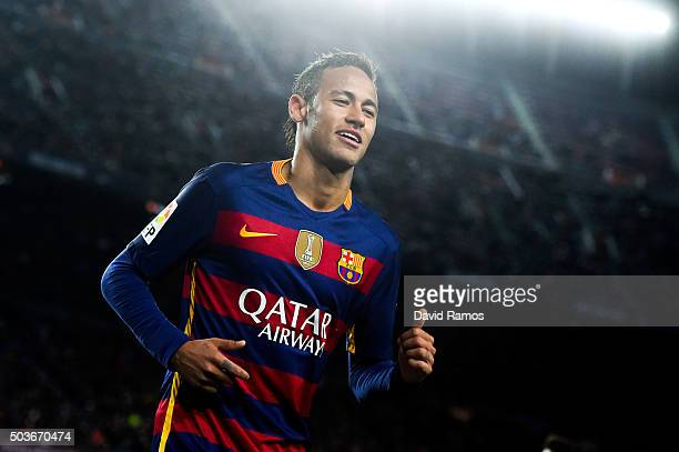 Neymar of FC Barcelona looks on during the Copa del Rey Round of 16 first leg match between FC Barcelona and RCD Espanyol at Camp Nou on January 6...