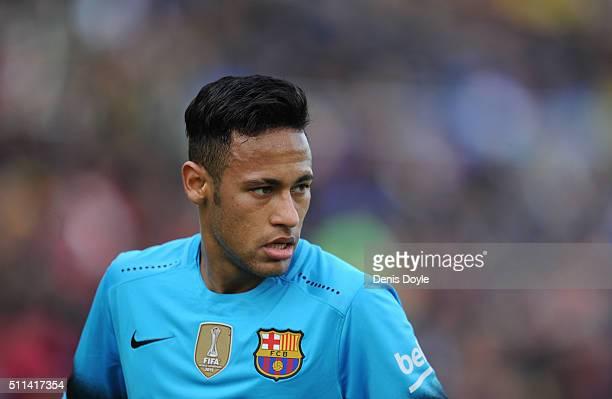 Neymar of FC Barcelona looks on during the La Liga match between UD Las Palmas and FC Barcelona at Estadio Gran Canaria on February 20 2016 in Las...