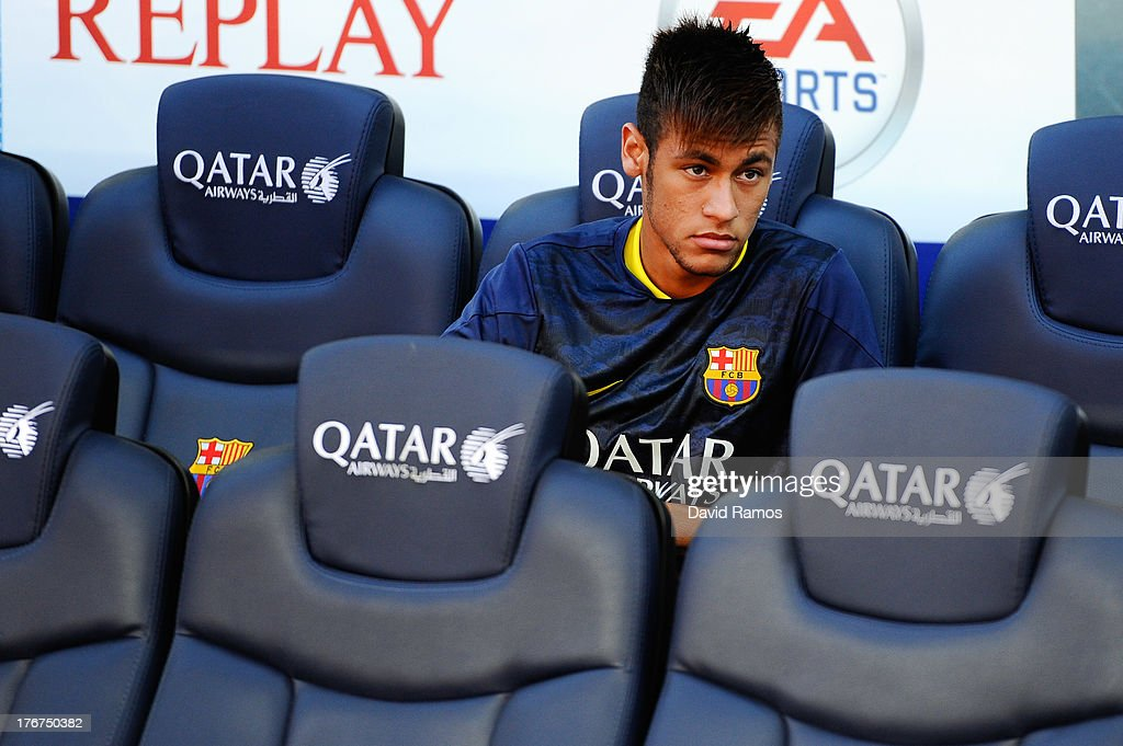 Neymar of FC Barcelona looks on from the bench during the La Liga match between FC Barcelona and Levante UD at Camp Nou on August 18, 2013 in Barcelona, Spain.