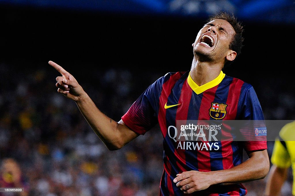 Neymar of FC Barcelona reacts after missing a chance to score during the UEFA Champions League Group H match between FC Barcelona and Ajax Amsterdam ag the Camp Nou stadium on September 18, 2013 in Barcelona, Spain.