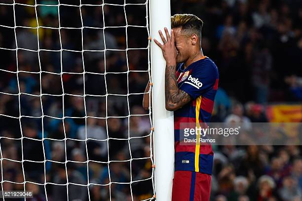 Neymar of FC Barcelona reacts after missing a chance to score during the La Liga match between FC Barcelona and Valencia CF at Camp Nou on April 17...