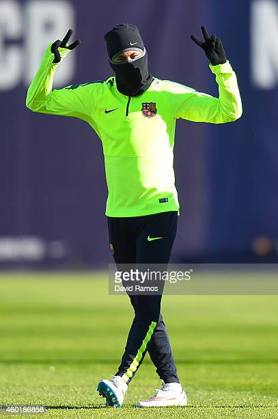 Neymar of FC Barcelona reacts during a training session ahead of their UEFA Champions League Group F match against Paris SaintGermain FC at Ciutat...