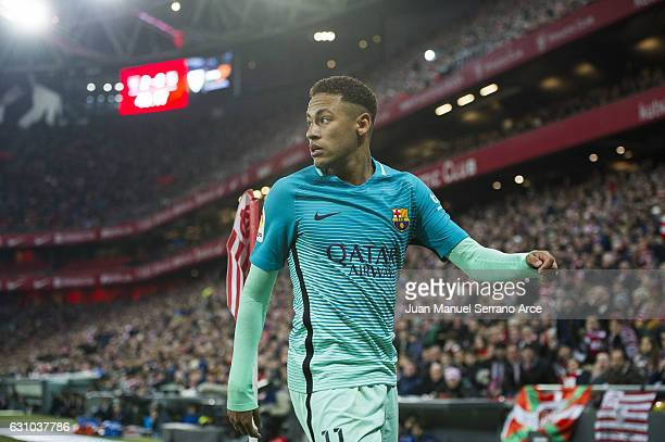 Neymar of FC Barcelona reacts during the Copa del Rey Round of 16 first leg match between Athletic Club and FC Barcelona at San Mames Stadium on...