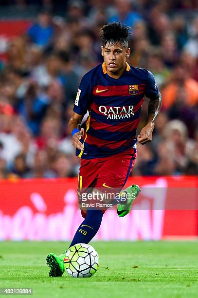 Neymar of FC Barcelona runs with the ball during the Joan Gamper trophy match at Camp Nou on August 5 2015 in Barcelona Spain
