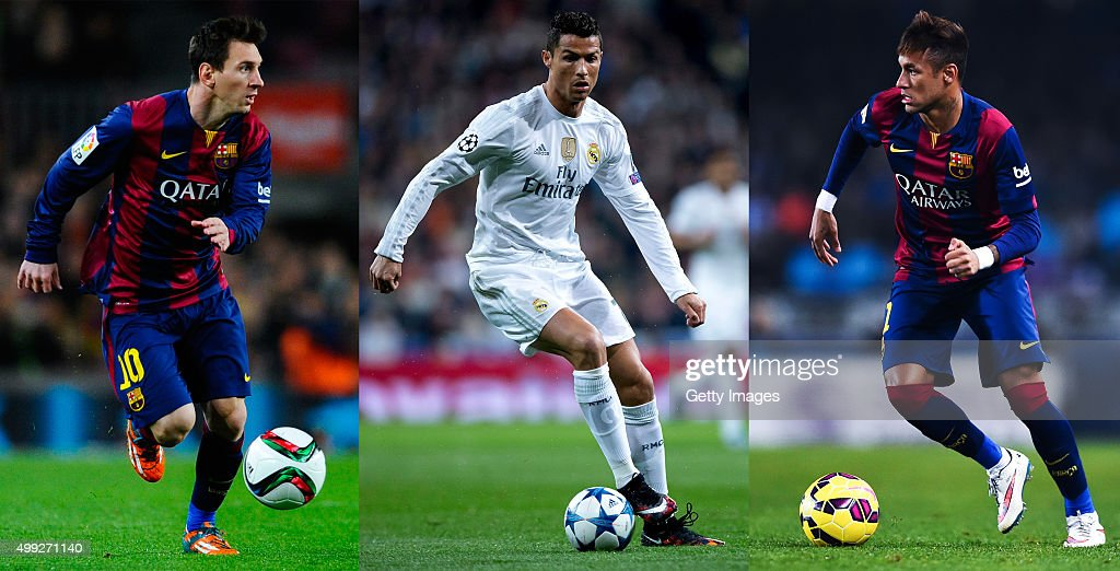 In this composite image (Image numbers 463262922,495914428,461027534) a comparison has been made between Lionel Messi (L), Cristiano Ronaldo (C) and Neymar (R). All three players have been short listed for the FIFA Ballon d'Or 2015, the winner of the award will be revealed at the FIFA Ballon dOr gala on January 11, 2016. SAN SEBASTIAN, SPAIN - JANUARY 04: Neymar of FC Barcelona runs with the ball during the La Liga match between Real Sociedad de Futbol and FC Barcelona at Estadio Anoeta on January 4, 2015 in San Sebastian, Spain.