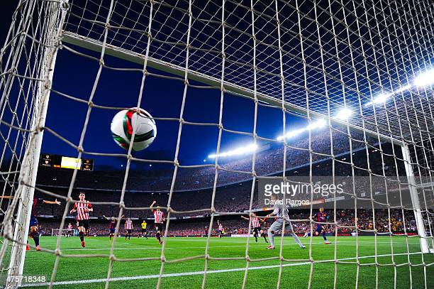 Neymar of FC Barcelona scores a disallowed goal during the Copa del Rey Final match between FC Barcelona and Athletic Club at Camp Nou on May 30 2015...