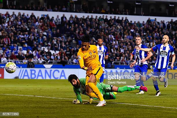 Neymar of FC Barcelona scores his team's eighth goal during the La Liga match between RC Deportivo La Coruna and FC Barcelona at Riazor Stadium on...