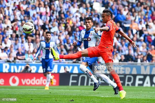 Neymar of FC Barcelona shoots towards goal during the La Liga match between RCD Espanyol and FC Barcelona at CornellaEl Prat Stadium on April 25 2015...
