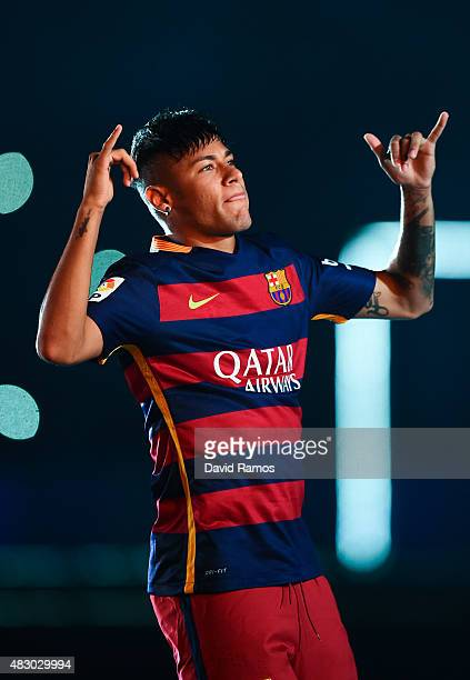 Neymar of FC Barcelona waves during the official team presentation ahead of the Joan Gamper trophy match at Camp Nou on August 5 2015 in Barcelona...