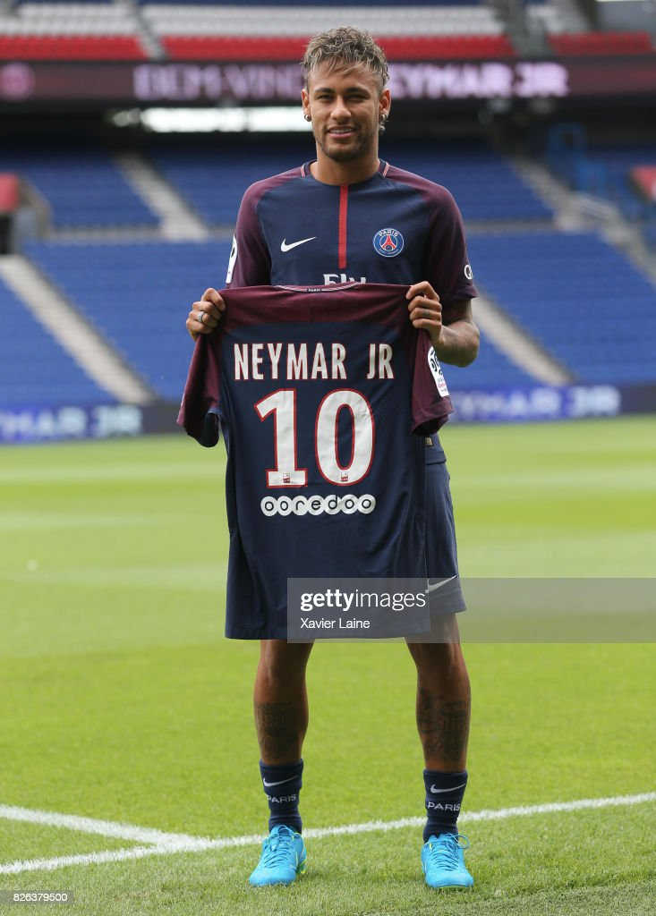 Neymar of Paris Saint-Germain (PSG) pose during his presentation to the press at Parc des Princes on August 4, 2017 in Paris, France.