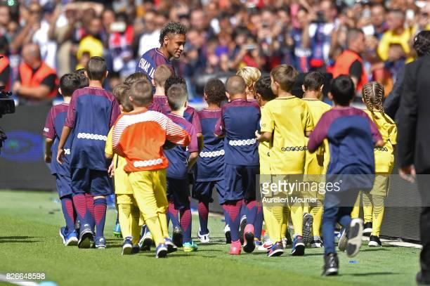 Neymar of Paris SaintGermain reacts as he is presented to the fans before the Ligue 1 match between Paris SaintGermain and Amiens at Parc des Princes...