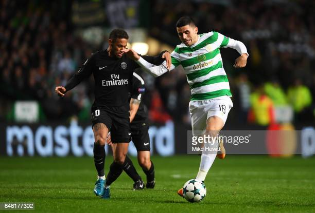 Neymar of PSG and Tomas Rogic of Celtic battle for possession during the UEFA Champions League Group B match between Celtic and Paris Saint Germain...