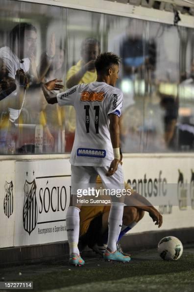 Neymar of Santos celebrates a scored goal during a match between Santos and Palmeiras as part of the Brazilian Serie A Championship 2012 at Vila...