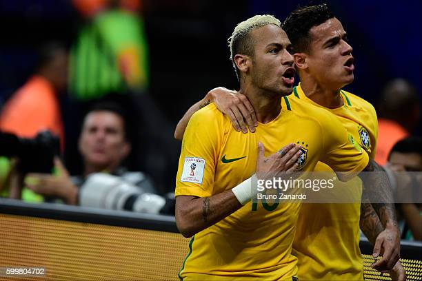 Neymar player of Brazil celebrates his goal during 2018 FIFA World Cup Russia qualification match between Brazil and Colombia at Arena da Amazonia at...