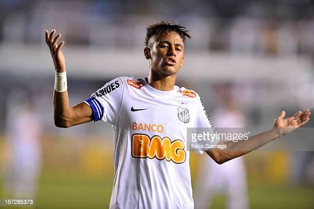Neymar player of Santos during a match between Santos and Palmeiras as part of the Brazilian Serie A Championship 2012 at Vila Belmiro Stadium on...