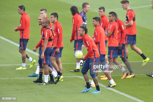 Neymar reacts before a training session with the Paris SaintGermain on August 11 2017 in Paris France