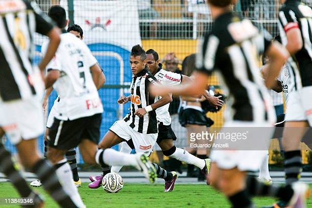 Neymar Santos in action during a match against Corinthians as part of Sao Paulo State Championship 2011 at Pacaembu stadium on May 8 in Sao Paulo...