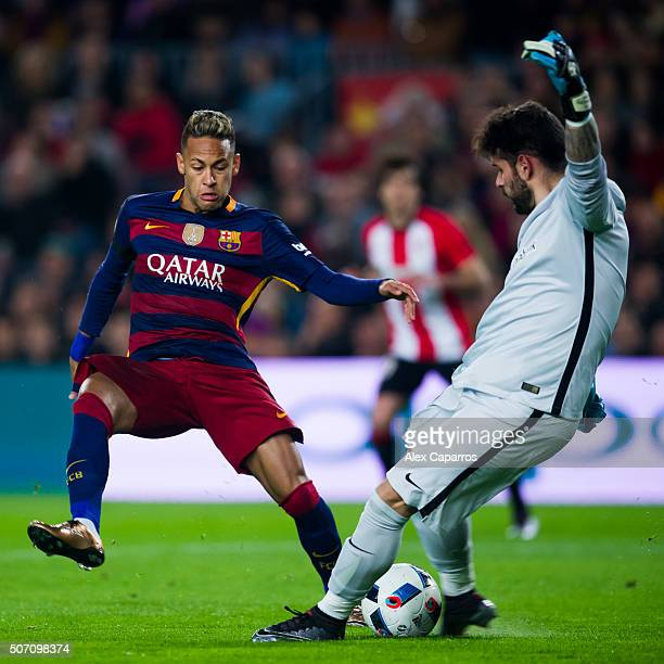 Neymar Santos Jr of FC Barcelona and Iago Herrerin of Athletic Club compete for the ball during the Copa del Rey Quarter Final Second Leg between FC...