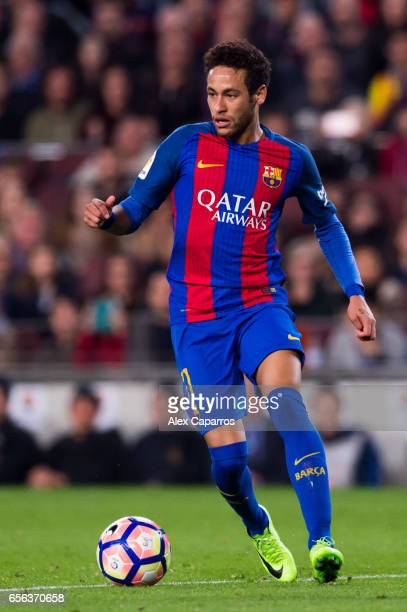 Neymar Santos Jr of FC Barcelona conducts the ball during the La Liga match between FC Barcelona and Valencia CF at Camp Nou stadium on March 19 2017...