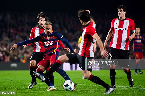 Neymar Santos Jr of FC Barcelona kicks the ball towards goal and scores his team's third goal during the Copa del Rey Quarter Final Second Leg...