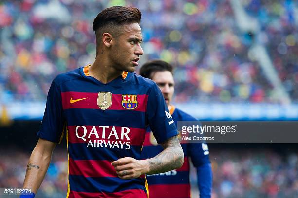 Neymar Santos Jr of FC Barcelona looks on during the La Liga match between FC Barcelona and RCD Espanyol at Camp Nou on May 8 2016 in Barcelona Spain