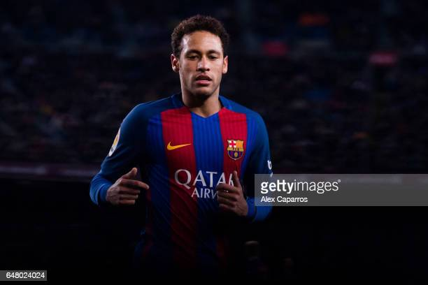 Neymar Santos Jr of FC Barcelona looks on during the La Liga match between FC Barcelona and RC Celta de Vigo at Camp Nou stadium on March 4 2017 in...