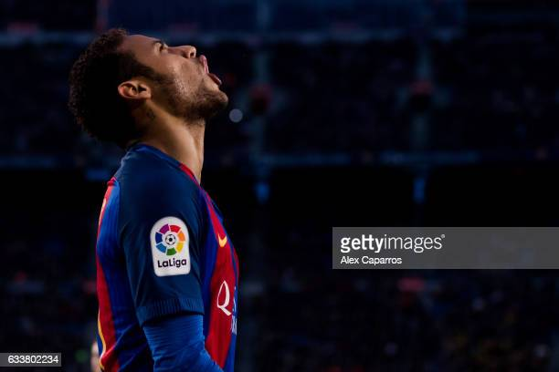Neymar Santos Jr of FC Barcelona reacts during the La Liga match between FC Barcelona and Athletic Club at Camp Nou stadium on February 4 2017 in...
