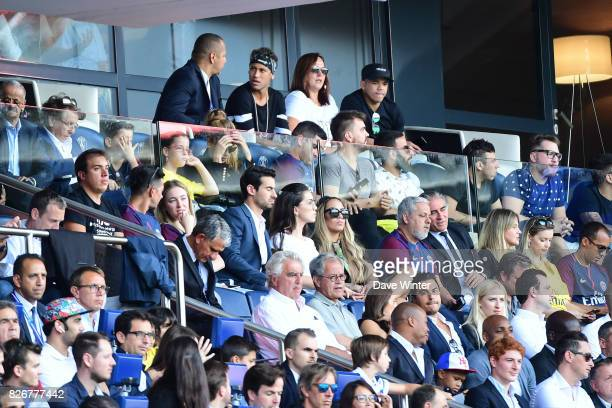 Neymar Santos Senior father of Neymar JR of PSG Neymar JR of PSG and Nadine Santos mother of Neymar JR of PSG during the Ligue 1 match between Paris...