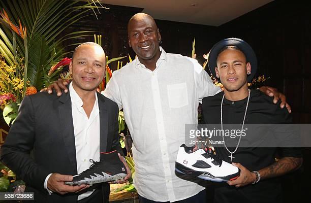 Neymar Sr Michael Jordan and Neyamr Jr attend An Intimate Evening With Michael Jordan And Neymar Jr on June 1 2016 in New York City