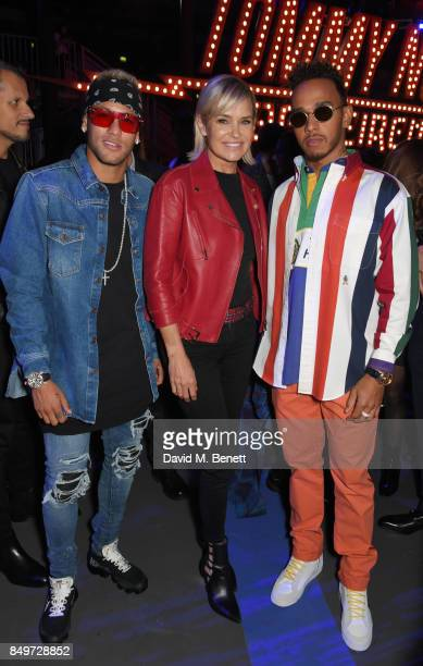 Neymar Yolanda Hadid and Lewis Hamilton attend the Tommy Hilfiger TOMMYNOW Fall 2017 Show during London Fashion Week September 2017 at The Roundhouse...