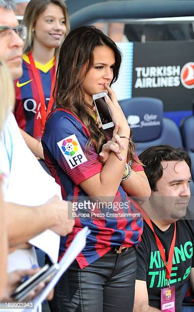 Neymar's girlfriend Bruna Marquezine cryes during her boyfriend's official presentation as a new player of the FC Barcelona at Camp Nou Stadium on...