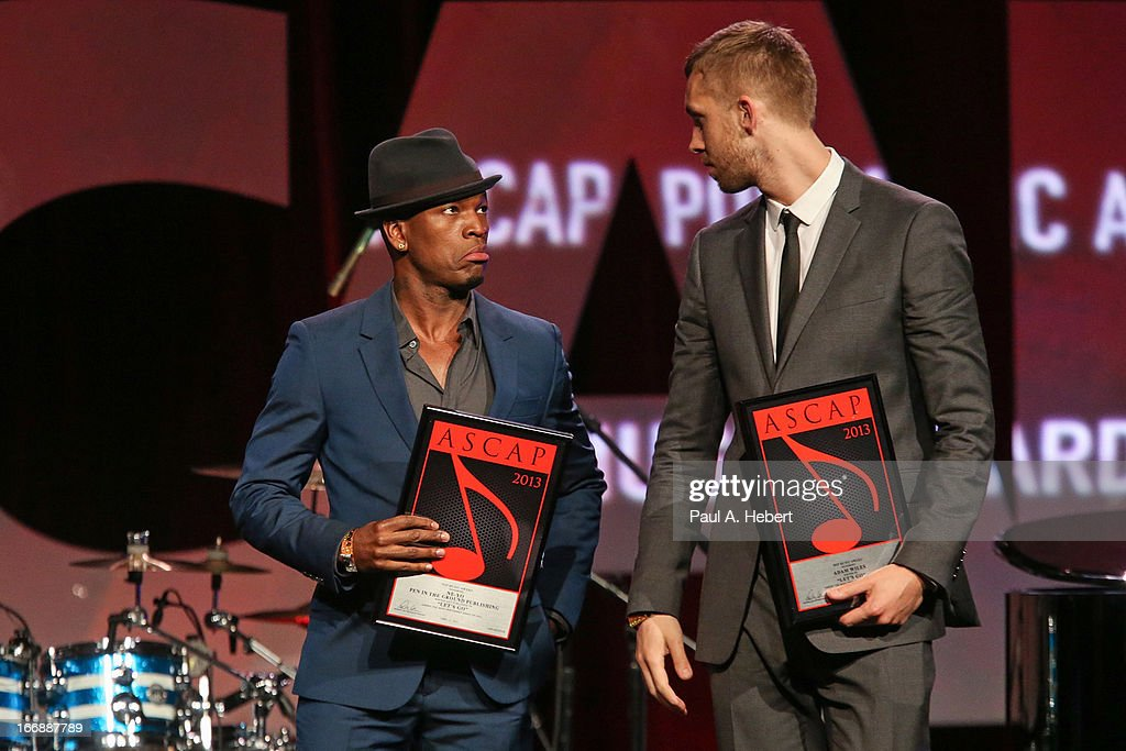<a gi-track='captionPersonalityLinkClicked' href=/galleries/search?phrase=Ne-Yo&family=editorial&specificpeople=451543 ng-click='$event.stopPropagation()'>Ne-Yo</a> (L) and <a gi-track='captionPersonalityLinkClicked' href=/galleries/search?phrase=Calvin+Harris&family=editorial&specificpeople=4412722 ng-click='$event.stopPropagation()'>Calvin Harris</a> (R) receive an award on stage during the 30th Annual ASCAP Pop Music Awards at Loews Hollywood Hotel on April 17, 2013 in Hollywood, California.
