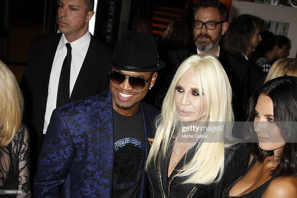 <a gi-track='captionPersonalityLinkClicked' href=/galleries/search?phrase=Ne-Yo&family=editorial&specificpeople=451543 ng-click='$event.stopPropagation()'>Ne-Yo</a> and Donatella Versace attend the Versace Spring/Summer 2013 Haute-Couture show as part of Paris Fashion Week at Le Centorial on January 20, 2013 in Paris, France.