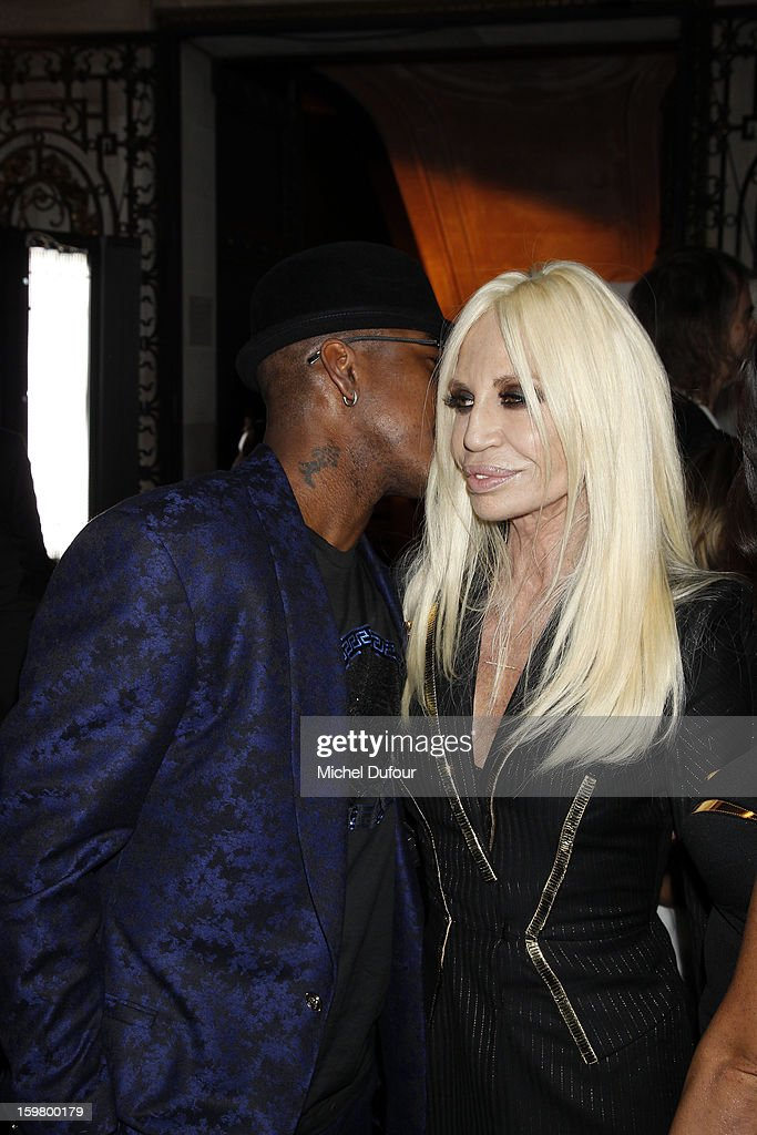 Ne-Yo and Donatella Versace attend the Versace Spring/Summer 2013 Haute-Couture show as part of Paris Fashion Week at Le Centorial on January 20, 2013 in Paris, France.