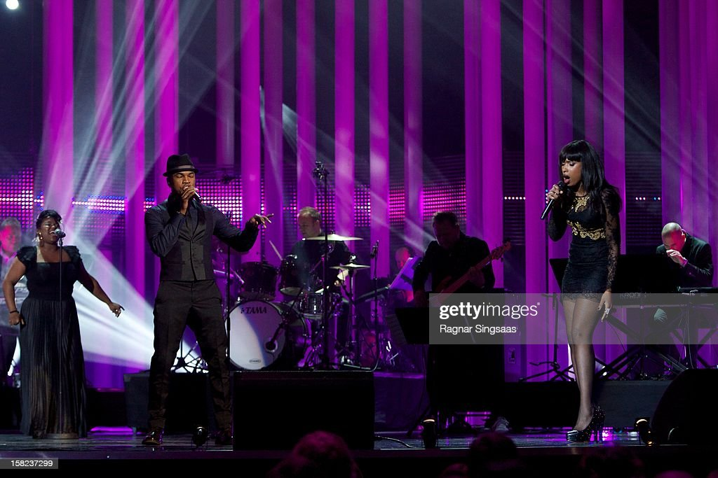 Ne-Yo and Jennifer Hudson perform at the Nobel Peace Prize Concert at Oslo Spektrum on December 11, 2012 in Oslo, Norway.