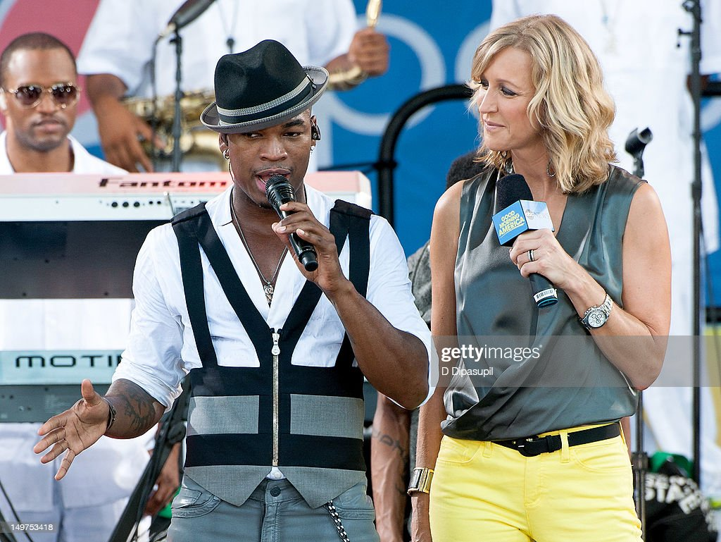 <a gi-track='captionPersonalityLinkClicked' href=/galleries/search?phrase=Ne-Yo&family=editorial&specificpeople=451543 ng-click='$event.stopPropagation()'>Ne-Yo</a> (L) and <a gi-track='captionPersonalityLinkClicked' href=/galleries/search?phrase=Lara+Spencer+-+Journalist&family=editorial&specificpeople=240321 ng-click='$event.stopPropagation()'>Lara Spencer</a> attend ABC's 'Good Morning America' at Rumsey Playfield, Central Park on August 3, 2012 in New York City.