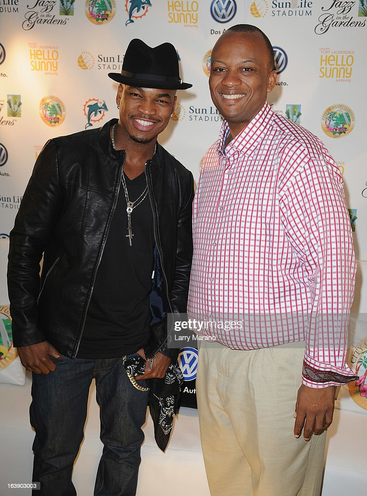 Ne-Yo and Miami Gardens Mayor Oliver G. Gilbert III pose backstage at the 8th Annual Jazz in the Gardens Day 2 at Sun Life Stadium presented by the City of Miami Gardens on March 17, 2013 in Miami Gardens, Florida.