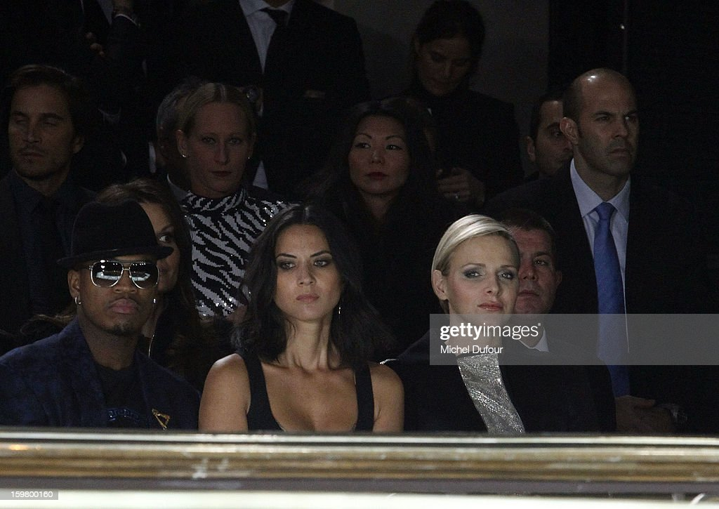 Ne-Yo, Olivia Munn and Princess Charlene of Monaco attend the Versace Spring/Summer 2013 Haute-Couture show as part of Paris Fashion Week at Le Centorial on January 20, 2013 in Paris, France.