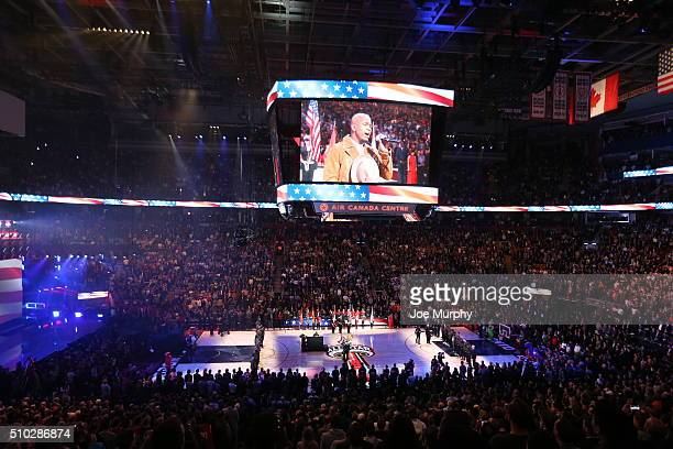 NeYo performs the national anthem before the game between the Eastern Conference and the Western Conference during the 2016 NBA AllStar Game on...