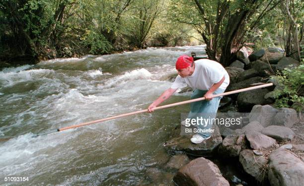 Nez Perce Tribal Member Brian J Pinkham Of Yakima Valley Washington Dipnets For Chinook Salmon May 17 2001 Along The Rapid River Outside Of Riggins...