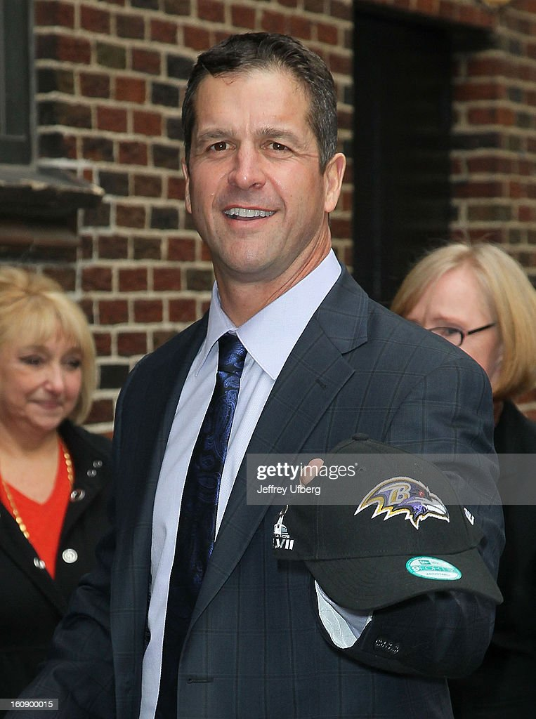 NFl Head Coach John Harbaugh arrives to 'Late Show with David Letterman' at Ed Sullivan Theater on February 7, 2013 in New York City.