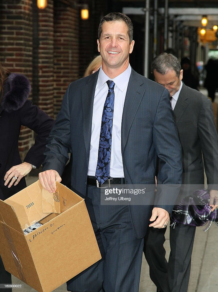 NFl Head Coach <a gi-track='captionPersonalityLinkClicked' href=/galleries/search?phrase=John+Harbaugh&family=editorial&specificpeople=763525 ng-click='$event.stopPropagation()'>John Harbaugh</a> arrives to 'Late Show with David Letterman' at Ed Sullivan Theater on February 7, 2013 in New York City.