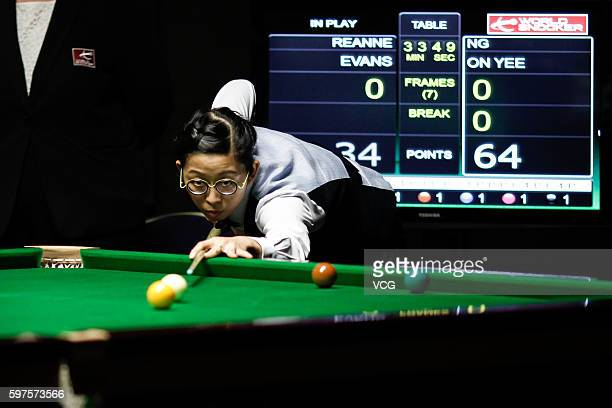 Ng OnYee of Hong Kong plays a shot in the final match against Reanne Evans of England on day 4 of the Paul Hunter Ladies Classic 2016 at the...