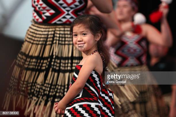 Nga Tumanako of Auckland perform during Te Taumata Kapa Haka at The Cloud on July 1 2017 in Auckland New Zealand The Matariki Festival is an annual...