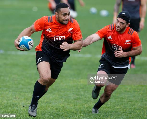 Ngani Laumape and Nehe MilnerSkudder of All Blacks in action during the New Zealand Rugby Championship Captain's Run ahead of the match against...