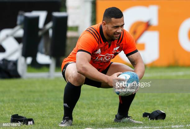Ngani Laumape of All Blacks in action during a New Zealand training session at San Isidro Club on September 28 2017 in San Isidro Argentina