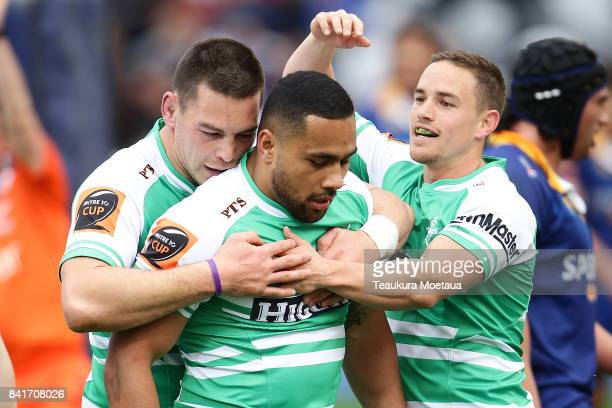 Ngani Laumape of Manawatu celebrates during the round three Mitre 10 Cup match between Otago and Manawatu on September 2 2017 in Dunedin New Zealand