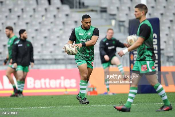 Ngani Laumape of Manawatu warms up before the round three Mitre 10 Cup match between Otago and Manawatu on September 2 2017 in Dunedin New Zealand