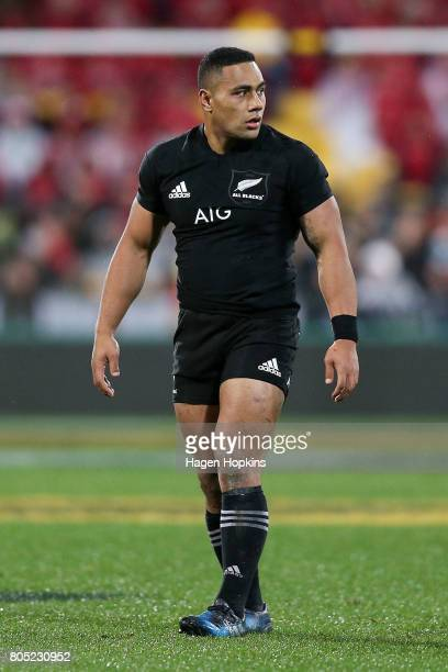 Ngani Laumape of New Zealand looks on during the International Test match between the New Zealand All Blacks and the British Irish Lions at Westpac...